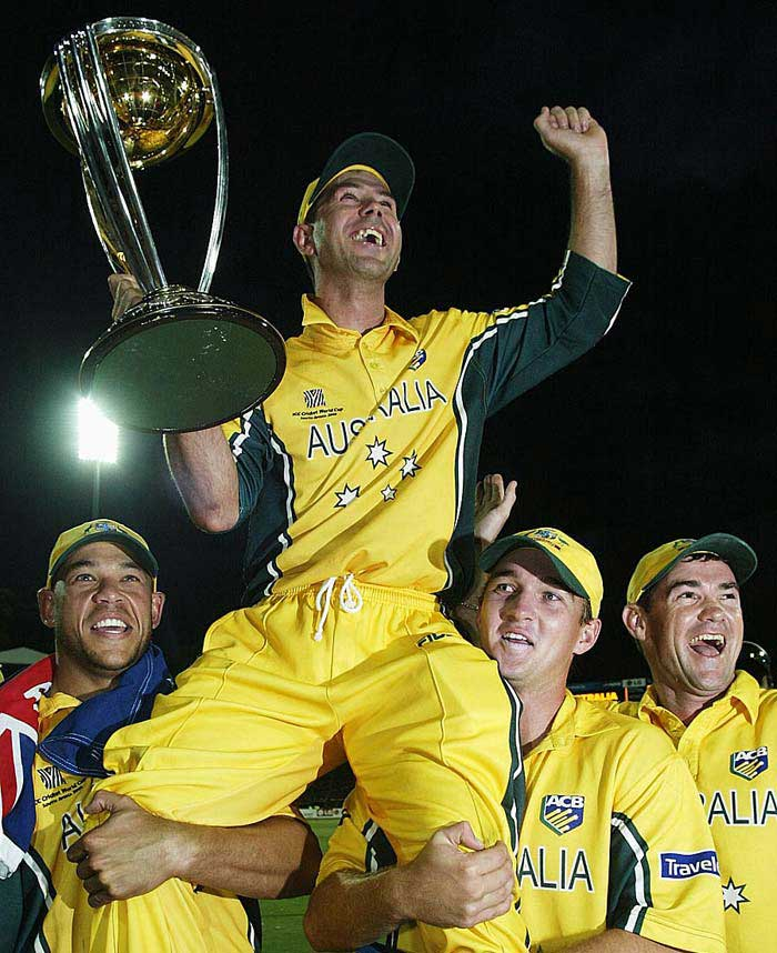 <b>140* off 121 balls vs India, March 2003:</b> India dreamed of winning their second world cup, 20 years after their maiden title in 1983. However, one man shattered the hopes of India even before the men in blue could come into bat as Ponting struck a glorious ton laced with eight massive sixes and four fours at Johannesburg. Australia's 359/2 never looked achievable but India couldn't even put on a fight. A win by 125 runs ensured Australia its second successive World Cup triumph.