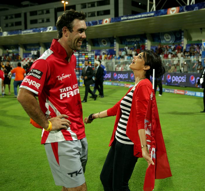 The beauty of Preity Zinta though is that she does not believe in hiding her own awe of excellent cricket. <br><br>She is seen here with Glenn Maxwell whose batting has left the world - including Preity - in a daze. (BCCI image)