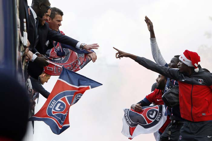 Paris Saint-German players and their fans had reasons to celebrate as PSG won the first french league title since 1994.(Image courtesy AFP)