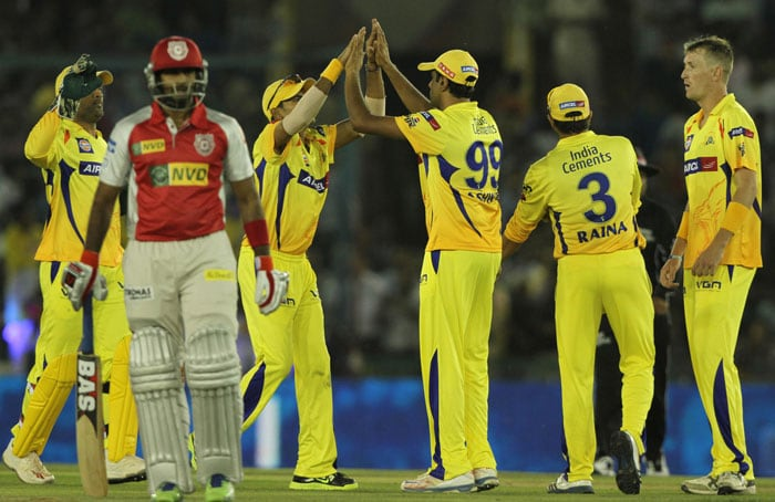 Chennai Super Kings crushed hapless Kings XI Punjab in a one-sided match from the start to the end at the PCA Stadium in Mohali. Dwayne Bravo, Dirk Nannes shone with the ball while Michael Hussey and Murali Vijay were clinical with the bat to guide the visitors home comfortably. (BCCI Image)