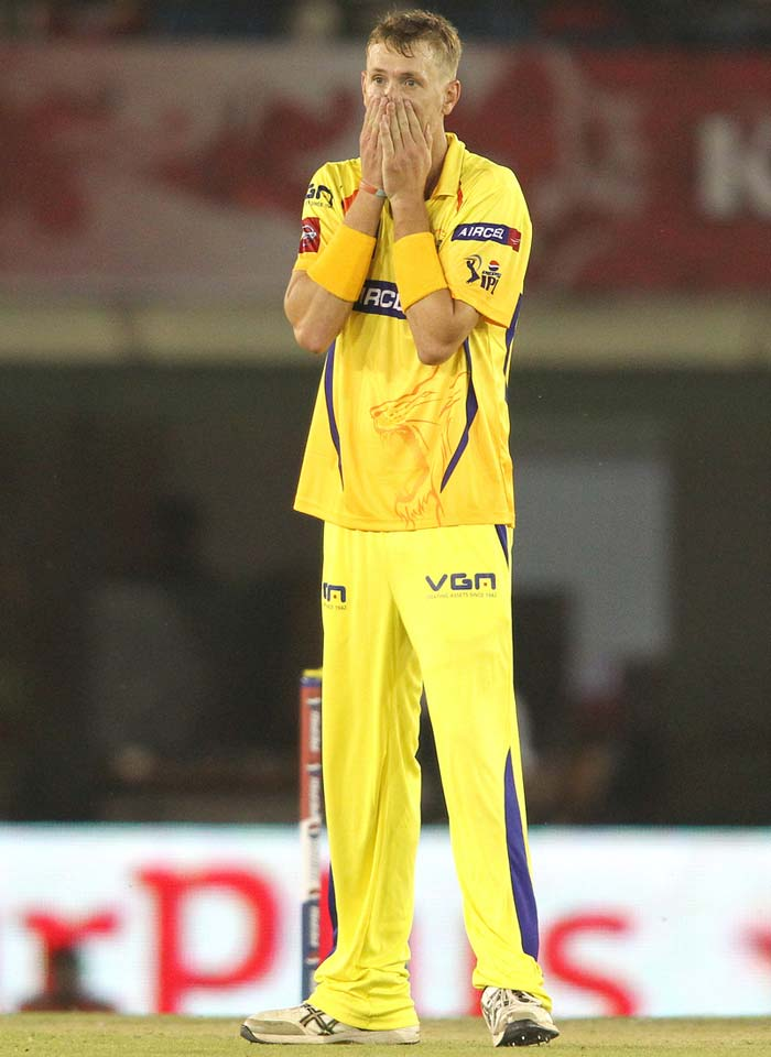 David Hussey got a reprieve early on as a lax Murali Vijay dropped a sitter off IPL debutant Chris Morris. (BCCI Image)