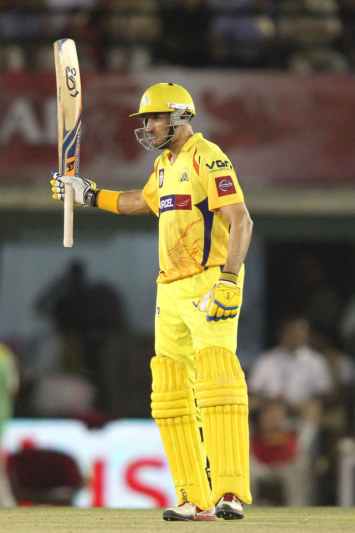 Michael Hussey (86*) and Murali Vijay (50*) were absolutely brilliant, especially Hussey. He was on 26 off 23 balls and scored his last 50 runs in just 31 deliveries. Vijay played run a ball stuff as Chennai crushed the hapless Punjab side. (BCCI Image)