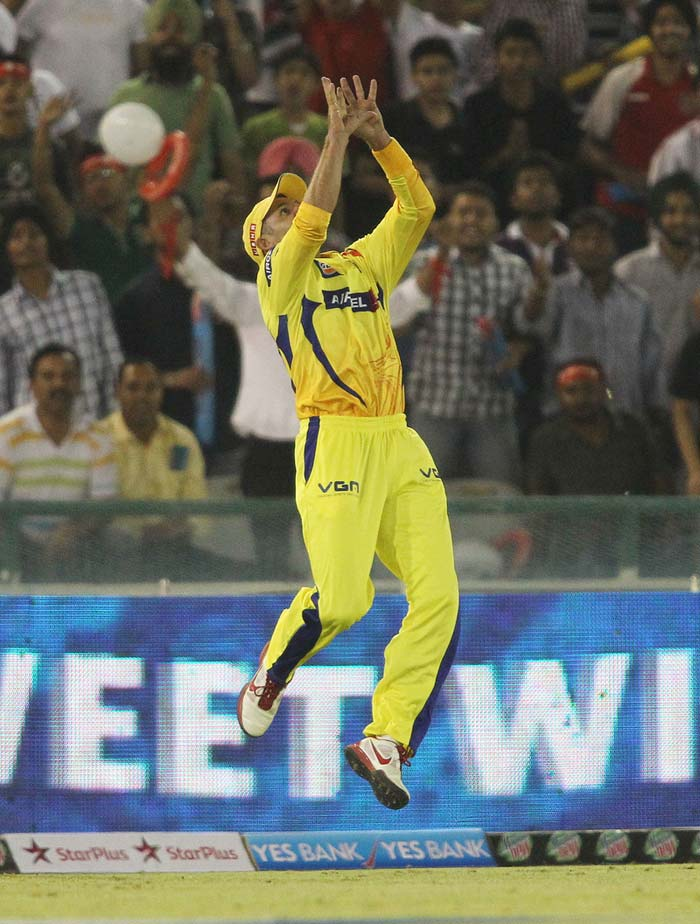 'Young' Michael Hussey was electrifying on the field. He took the catches of Gilchrist and last match star Manan Vohra. (BCCI Image)