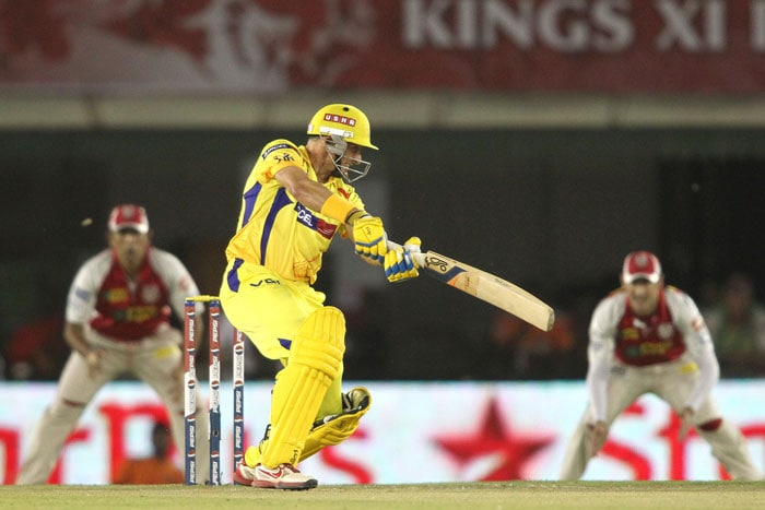 Michael Hussey and hot property Murali Vijay started off on a cautious note for Chennai in the modest run chase. Hussey lived a charmed life - once the third umpire did not give him out when the bat looked short of the crease, then Piyush Chawla dropped him off his own bowling. (BCCI Image)