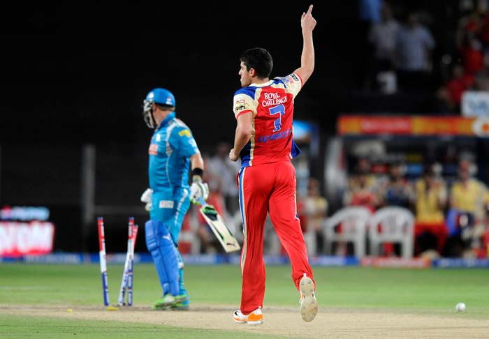 Pune did not have the best of starts, losing skipper Aaron Finch just after he had hit Moises Henriques for a brilliant six over mid-wicket. The Australian dasher went for another hoick but perished as the ball hit his inside edge and on to the stumps. He scored 15 from 11 balls. (BCCI Image)
