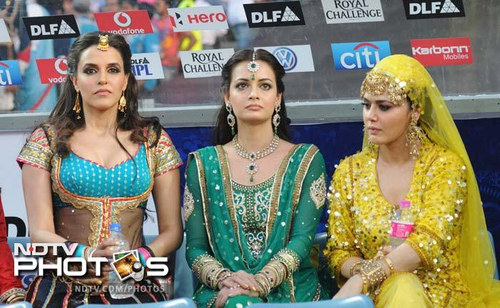 Bollywood actresses Neha Dhupia (L), Diya Mirza (C) and Preity Zinta (R) at the opening ceremony of the Subrata Roy Sahara stadium during Match 8 of the Indian Premier League. (PTI Photo (courtesy/IPL/SPORZPICS))
