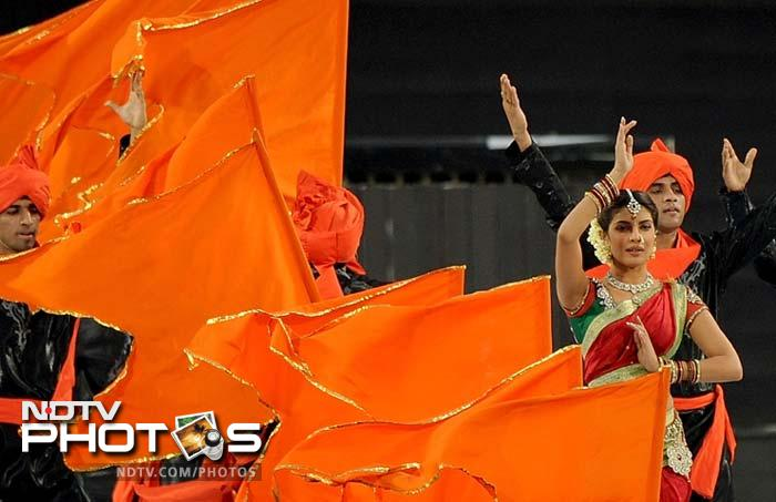 Priyanka performs at the opening ceremony. (AFP PHOTO/Punit PARANJPE)