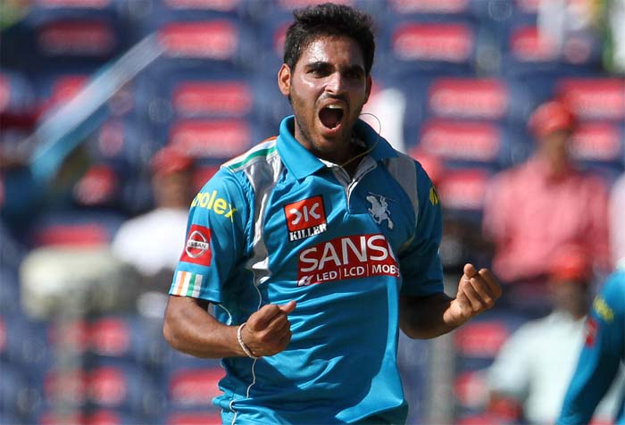Bhuvneshwar Kumar set the tone for Pune Warriors after the hosts chose to bowl at the Subrata Roy Sahara Stadium. Bhuvneshwar scalped three wickets in all for just 18 runs, reducing Sunrisers Hyderabad to 44 for 6. (BCCI image)