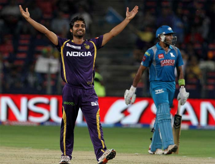 Left-arm orthodox spinner Iqbal Abdulla, who opened the bowling for Kolkata, got rid of Robin Uthappa and with that it was an uphill task for Pune to get close to KKR's 152/6. (BCCI image)