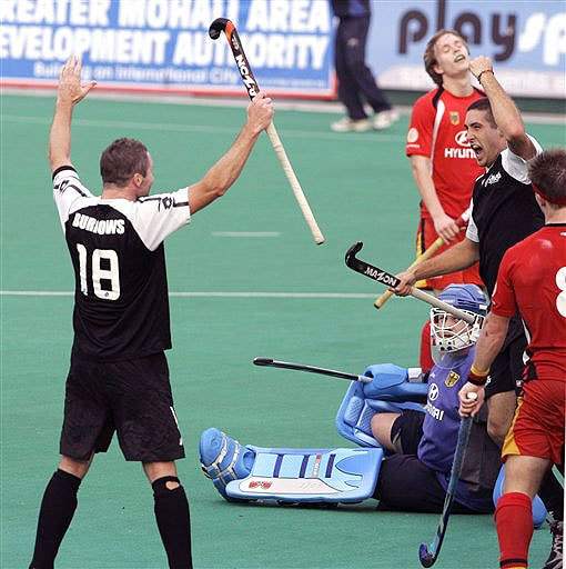 New Zealand's Joel Baker celebrates after scoring the winning goal during the four-nation hockey tournament match against Germany for the Punjab Gold Cup in Chandigarh.