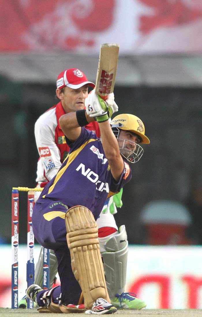 Kolkata skipper Gautam Gambhir then took centerstage and started to put the Kings XI bowling to the sword. He went onto score his 19th IPL fifty, most by any player in the tournament's history. (BCCI image)