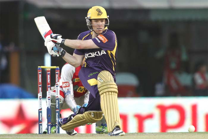 Eoin Morgan supported his skipper ably by mixing caution with aggression. later, when his chance came, Morgan displayed his unorthodox strokes and gave Kolkata dug out a lots to cheer. His 47 come in 38 balls. (BCCI image)