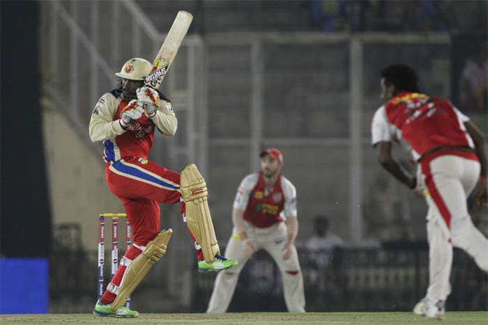 Earlier, another Chris Gayle masterclass - a 33-ball 61 - and late assault by AB de Villiers - 38 off 19 balls - propelled Royal Challengers Bangalore to 190/3 against Kings XI Punjab in the 51st match of the Indian Premier League 2013. (BCCI Image)