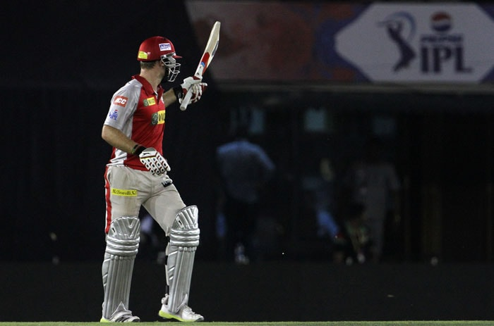 David Miller, who was drafted back into the squad for Dimitri Mascarenhas, the joined the confident Punjab youngster and the pair immediately hit off. From 58/3 they took the team past Pune's total and in quick time too. <br><br> Miller was particularly aggressive as Mandeep held fort for Punjab. At the second time-out, the pair had added 83 in 9.2 overs. Miller had by then hit 3 hits to the fence and 3 hits across as the match began to get tense. (BCCI Image)