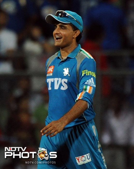 Pune Warriors India captain Sourav Ganguly reacts after winning the IPL Twenty20 match against Mumbai Indians at the Wankhede Stadium in Mumbai. (AFP Photo/Indranil Mukherjee)