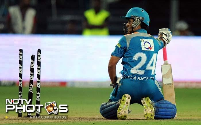 Pune Warriors India captain Sourav Ganguly reacts after being run-out during the IPL Twenty20 cricket match against Chennai Super Kings at the Subrata Roy Sahara Stadium in Pune. (AFP PHOTO/Indranil MUKHERJEE)