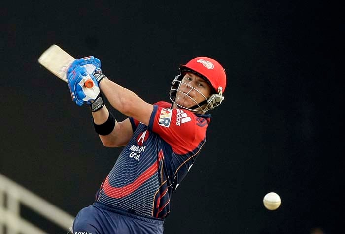 Delhi Daredevils' top-scorer David Warner bats during the Indian Premier League (IPL) cricket match against Pune Warriors at the D.Y. Patil Cricket stadium on the outskirts of Mumbai. (AP Photo)