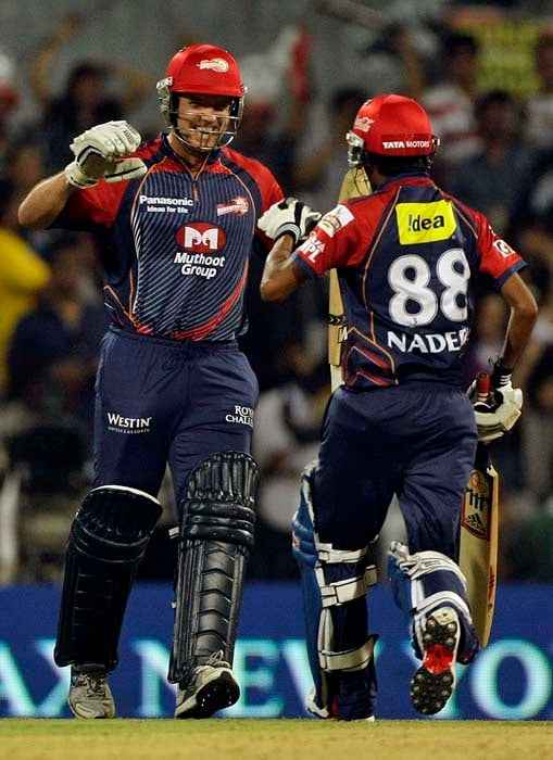 Delhi Daredevils' batsman James Hopes, left, celebrates with Shahbaz Nadeem after they won the Indian Premier League (IPL) cricket match against Pune Warriors in Navi Mumbai, India.(AP Photo)