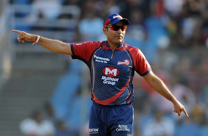 Delhi Daredevils captain Virender Sehwag gestures during the IPL Twenty20 match against Pune Warriors at the D.Y. Patil Cricket stadium on the outskirts of Mumbai. (AFP PHOTO)