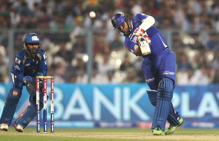 It went downhill even further for Rajasthan, as Sanju Samson, sent in early, was dismissed without troubling the scorers. Again Bhajji was involved - took a catch off Lasith Malinga's bowling - as the Royals' batsman misjudged a slower one. <br><br> Stuart Binny then joined his skipper at the crease and got going immediately. A four off Harhajan and another six and a four off Pragyan Ojha, relaxed Rajasthan's nerves a bit. (BCCI Image)