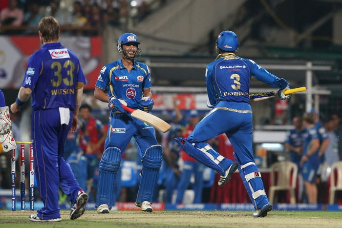 Mumbai Indians beat Rajasthan Royals by 4 wickets in the Qualifier-2 at the Eden Gardens, Kolkata to reach the finals of the IPL 2013. They did make heavy weather of the chase after a fine start but managed to scrape through in the end. (BCCI Image)