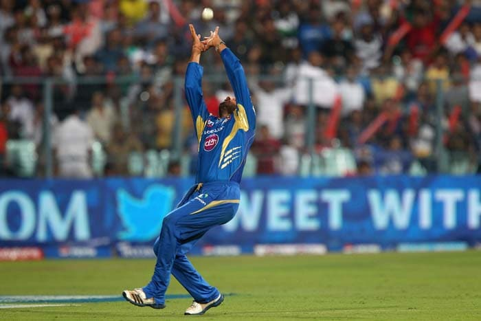 Harbhajan Singh (3/23 and 2 catches) was involved in 5 dismissals as Mumbai Indians kept Rajasthan Royals to 165/6 in the Qualifier-2 being played at the Eden Gardens, Kolkata. (BCCI Image)