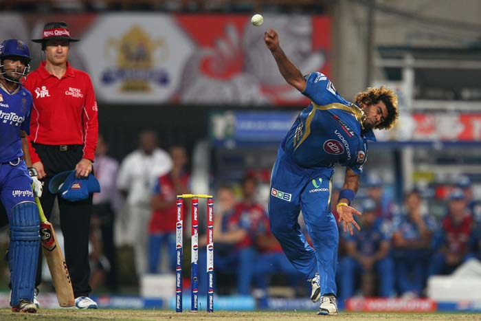 A horrible last over by Lasith Malinga - costing 18 with 2 boundaries and 6 wides - gave Rajasthan something to cheer about late-on. (BCCI Image)