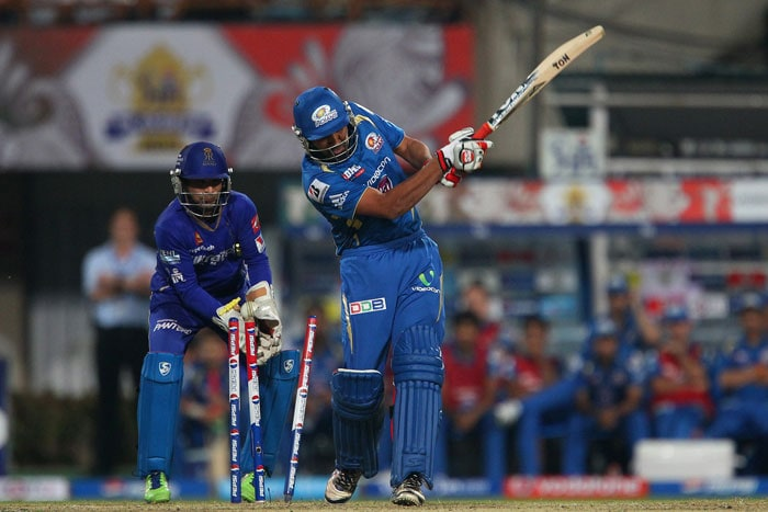 Rajasthan then received a shot in the arm with back-to-back wickets as Mumbai faltered mid-way. Karthik, 22 off 17, became Cooper's second wicket as he cut a short delivery straight to backward-point. <br> Rohit Sharma then fell soon after when he was clean bowled by Siddharth Trivedi. The biggest blow came as Smith (62 off 44) tried to clear square-leg boundary off Stuart Binny. Samson completed a fine running catch to give Rajasthan a lifeline. (BCCI Image)