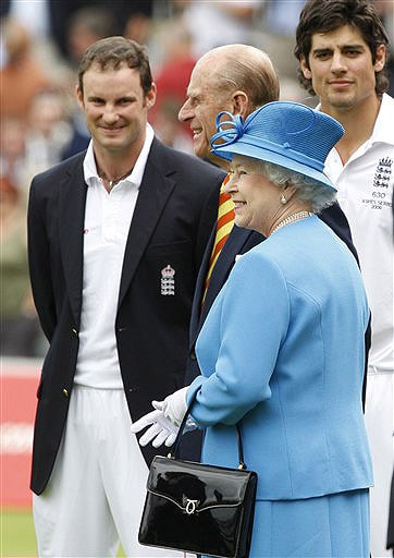 Britain's Queen Elizabeth II and Prince Philip meet England's Andrew Strauss and Alastair Cook on the second day of the second Test match between England and Australia at Lord's in London. (AP Photo)