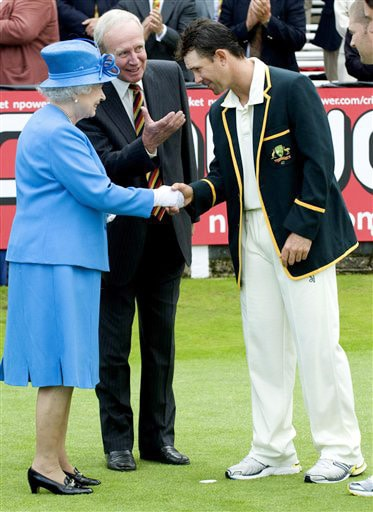 Britain's Queen Elizabeth II is introduced to Australian team captain Ricky Ponting by MCC President Derek Underwood as she meets the Australian and England teams on the second day of the second Test match at Lord's in London. (AP Photo)