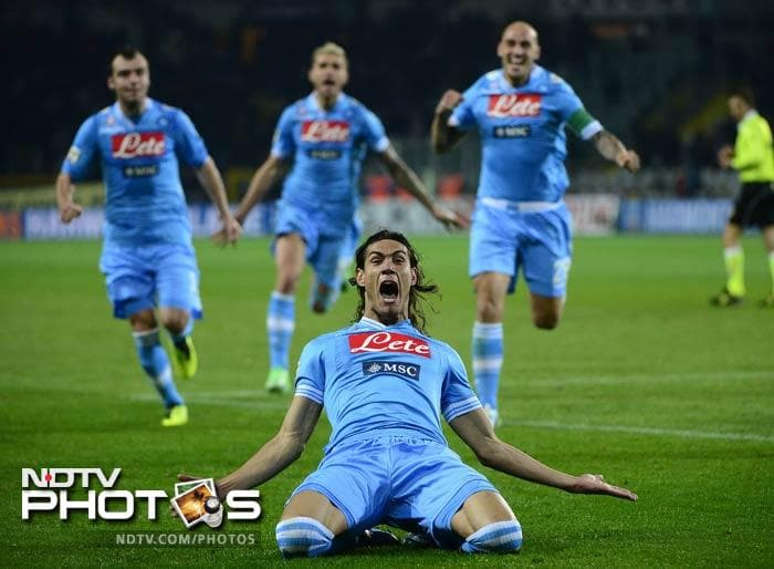 Uruguayan international Edinson Cavani put his travel nightmares behind him and came off the bench to score a brace in a 5-3 win over Torino that sent Napoli back into second place in Serie A.