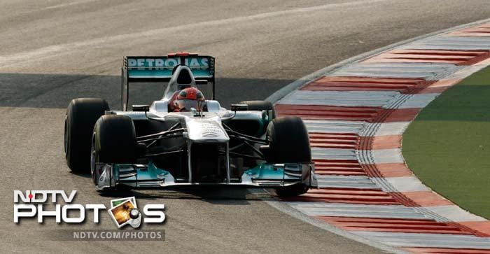 Mercedes Grand Prix driver Michael Schumacher of Germany steers his car. He finished the race in the fifth position after jumping six places.