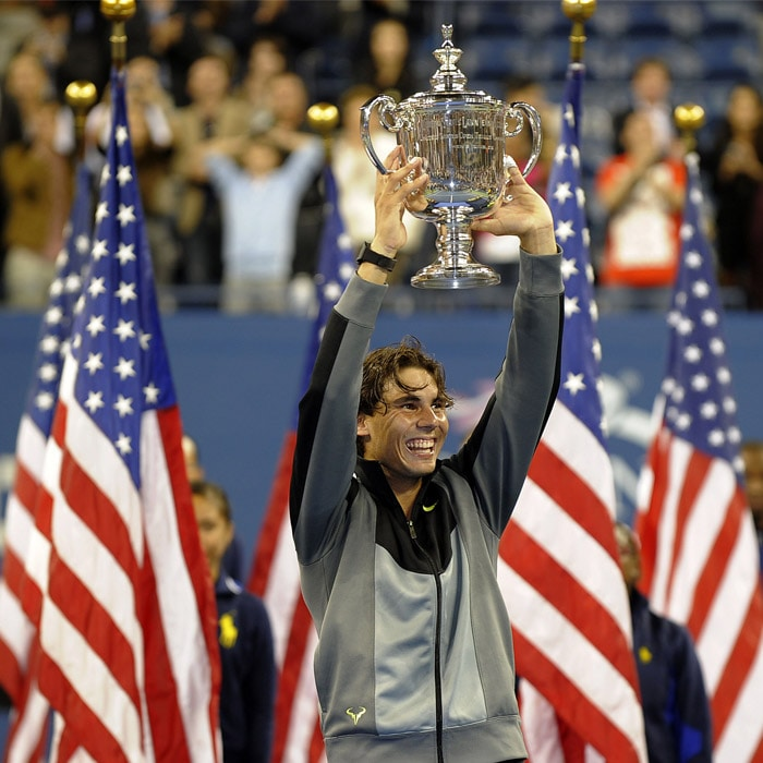 World No. 1 Rafael Nadal defeated Serbia's Novak Djokovic in the Men's Singles Final at US Open 2010 to lift the trophy and become the youngest man to complete the career Grand Slam.<br><br>This was his first ever US Open final appearance.<br><br>The 24-year-old Spaniard has so far won five French Open titles, two Wimbledons, one Australian Open and one US Open. As Nadal completes nine Grand Slam victories, we take a look at his journey so far. (AFP Photo)