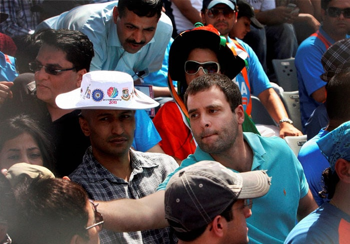 In this picture, the young Gandhi interacting with the people in the regular stand. (PTI Photo)
