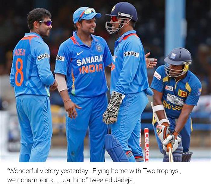 """Wonderful victory yesterday ..Flying home with Two trophys ,we r champions...... Jai hind,"" tweeted Jadeja."