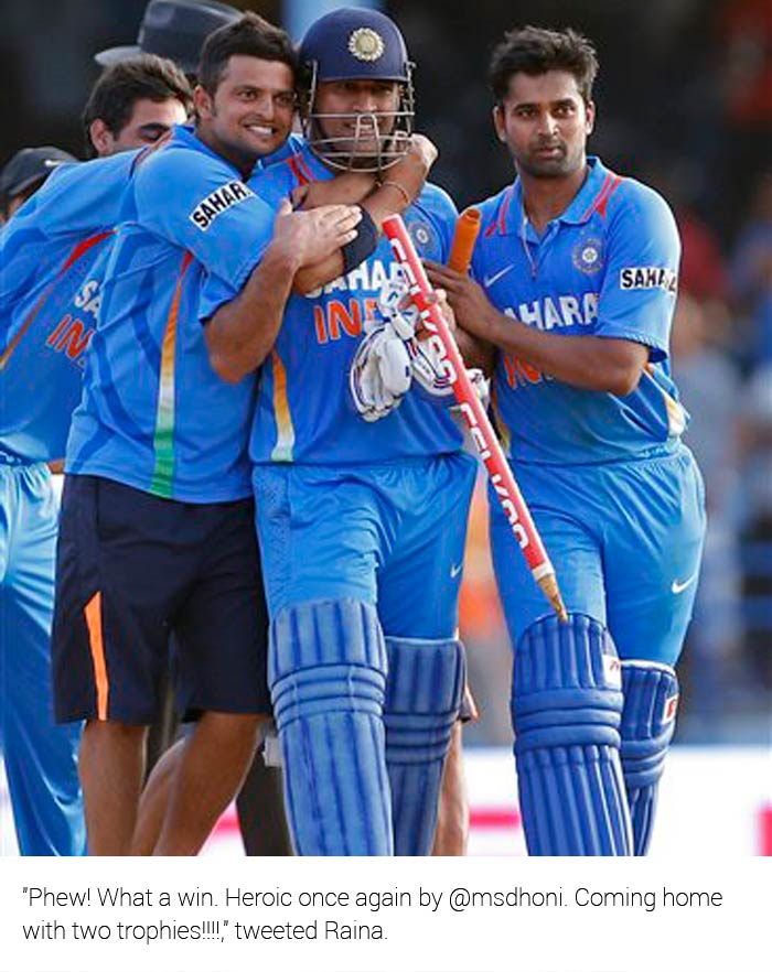 """""""Phew! What a win. Heroic once again by @msdhoni. Coming home with two trophies!!!!,"""" said Raina."""