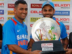 Photo : Tri-series win: Raina, Jadeja, Ashwin salute ice cool Dhoni