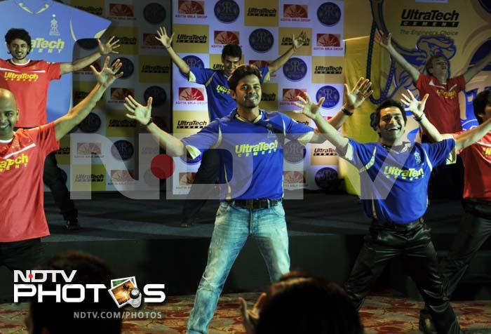 Pace bowler Sreesanth, who is also known for his dancing skills, shows off his moves.