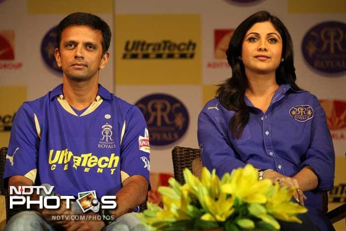 Rahul Dravid and Shilpa Shetty at the RR jersey unveiling press meet.