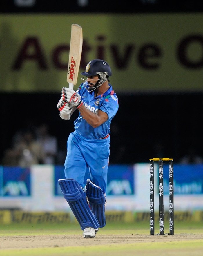 India's in-form opener Shikhar Dhawan played a consolidating knock but just when he was looking to take the game away from Australia, he was out stumped off Xavier Doherty. Dhawan made 32 of just 19 balls.