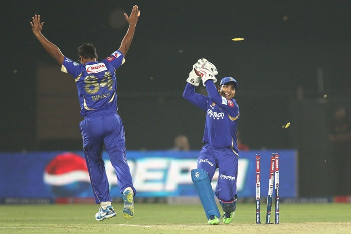 Young Rishi Dhawan went as soon as he came in, giving a simple catch to Faulkner at mid-wicket and Stuart Binny his second scalp. He did not trouble the scorers. A disastrous mix-up between in coming Harbhajan Singh and Ambati Rayudu then ended the former's inning in the same over. It was a comedy of errors as Mumbai lost the plot badly. (BCCI Image)