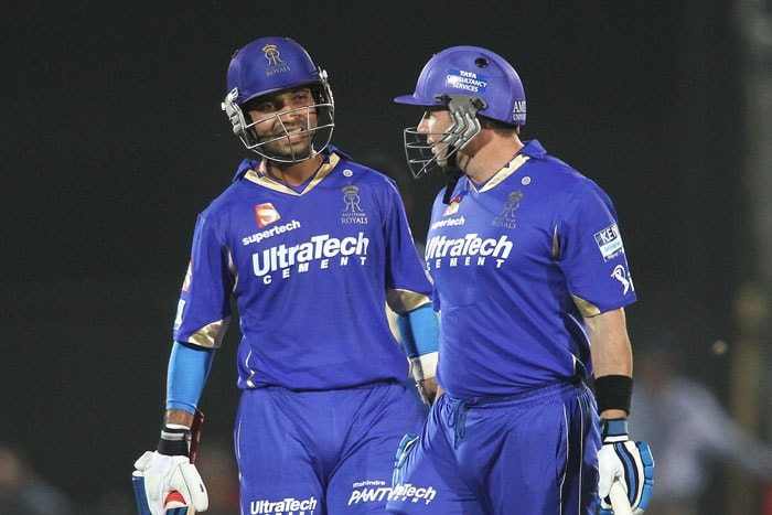 Solid innings of 68* by Ajinkya Rahane and quick-fire knocks by Shane Watson (31 off 25), Dishant Yagnik (34 off 24) and Brad Hodge (27 off 15 balls) took Rajasthan Royals to a formidable total on 179/3 against Mumbai Indians. (BCCI Image)