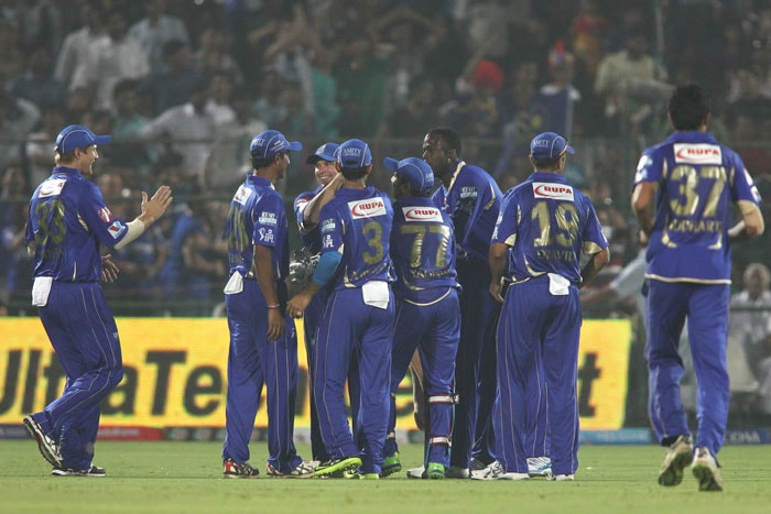 Rajasthan Royals demolished Mumbai Indians by 87 runs in a one-sided match of the Indian Premier League 2013 being played at the Sawai Mansingh Stadium, Jaipur. <br> The home side's bowlers - Ajit Chandila (2/6), Ankeet Chavan (0/10), James Faulkner (3/16), Siddharth Trivedi (1/17), Stuart Binny (2/14) and Kevon Cooper (1/25) - were absolutely clinical on a 'drier than usual' pitch, as predicted by Rajasthan's skipper Rahul Dravid at the toss. <br>Earlier, a solid innings of 68* by Ajinkya Rahane and quick-fire knocks by Shane Watson (31 off 25), Dishant Yagnik (34 off 24) and Brad Hodge (27* off 15 balls) took Rajasthan Royals to a formidable total against Mumbai Indians in the 23rd match of the Indian Premier League being played in Jaipur. (BCCI Image)