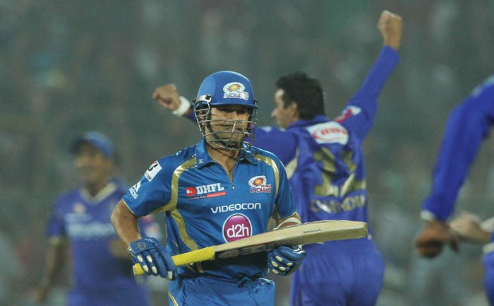 Mumbai then got off to the worst possible start, as Dravid's toss prediction of a 'drier than usual' pitch came to be true. The Rajasthan skipper started off with spin from both ends - Ajit Chandila and Ankeet Chavan. <br> The right-armer Chandila removed Sachin Tendulkar in the very first over for 1. The Master Blaster tried to hit a sweep across the line but managed just a top-edge. Siddharth Trivedi took a simple catch at short fine leg. (BCCI Image)