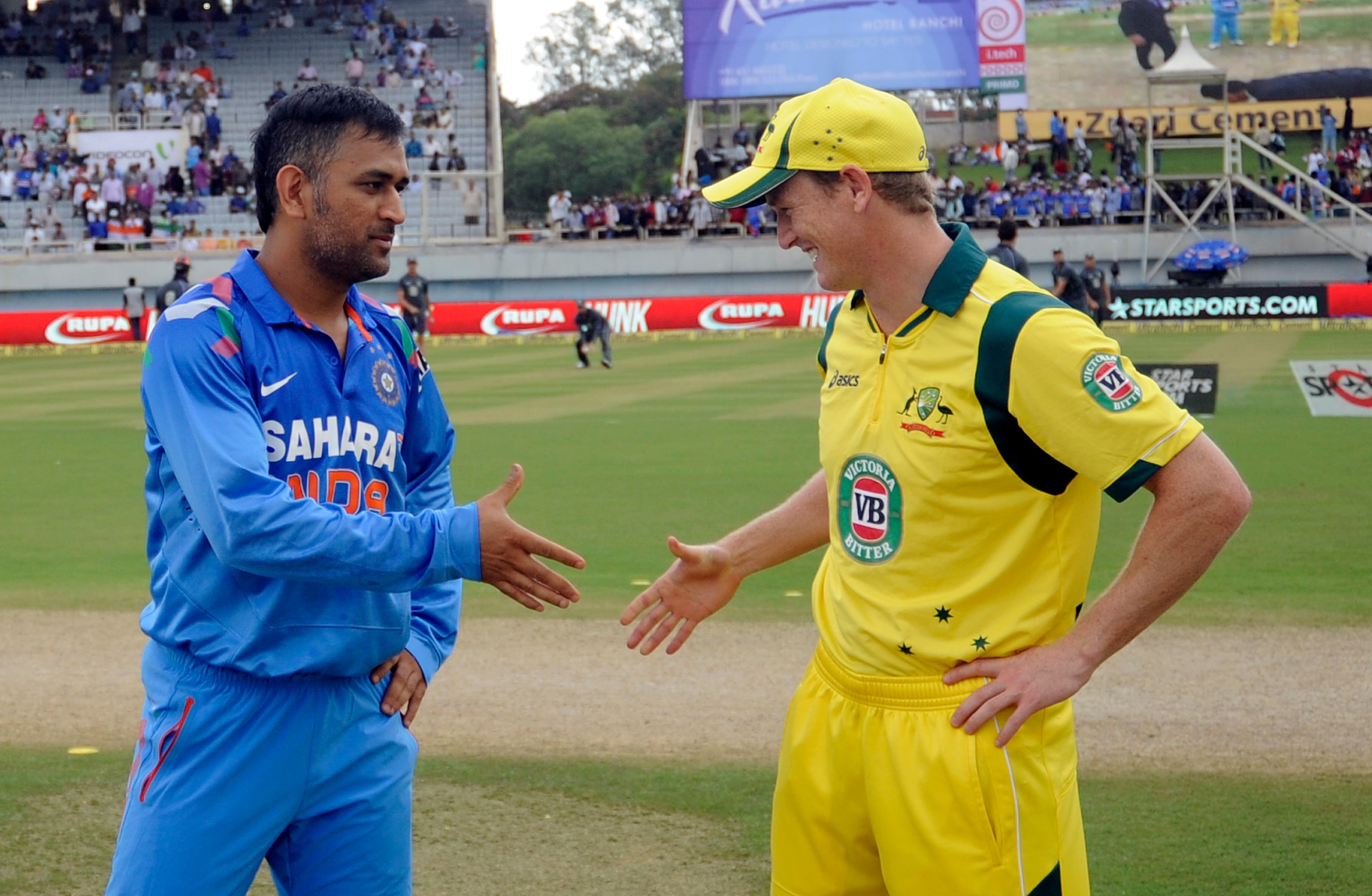 It promised to be a thrilling encounter between India and Australia in MS Dhoni's home town of Ranchi but rain made sure that no result was possible. (BCCI image)