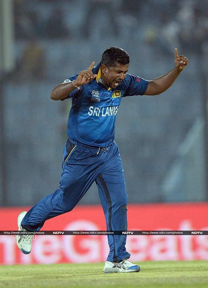 In a tournament dominated generally by spinners, Rangana Herath arrived at the perfect time for Sri Lanka on Monday night. The veteran left-arm spinner produced career-best figures as Sri Lanka stormed into the semifinal of the ICC World Twenty20 after crushing New Zealand by 59 runs in Chittagong. (All AFP images)