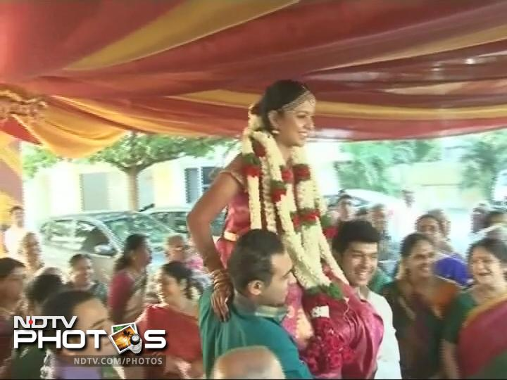 Preethi Narayan, Ashwin's wife during the ceremony.