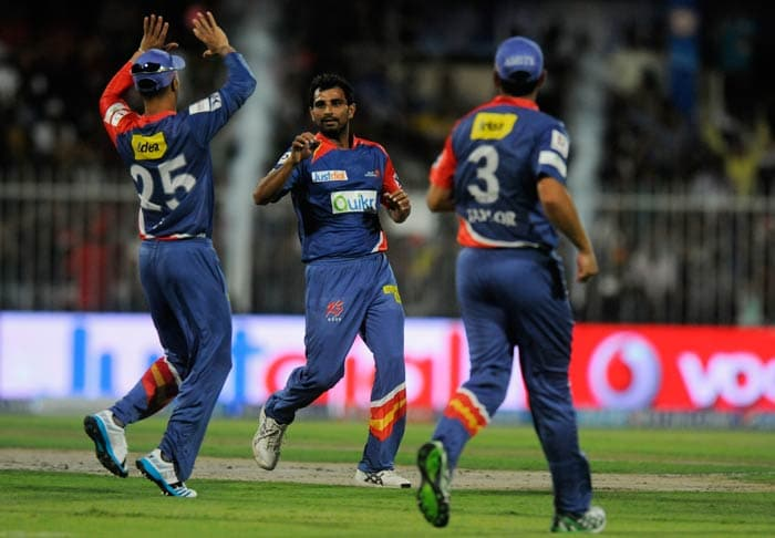 Delhi had some success when the team came out to defend. <br><br>Mohammad Shami is seen celebrating the wicket of opener Nic Maddinson. (BCCI image)