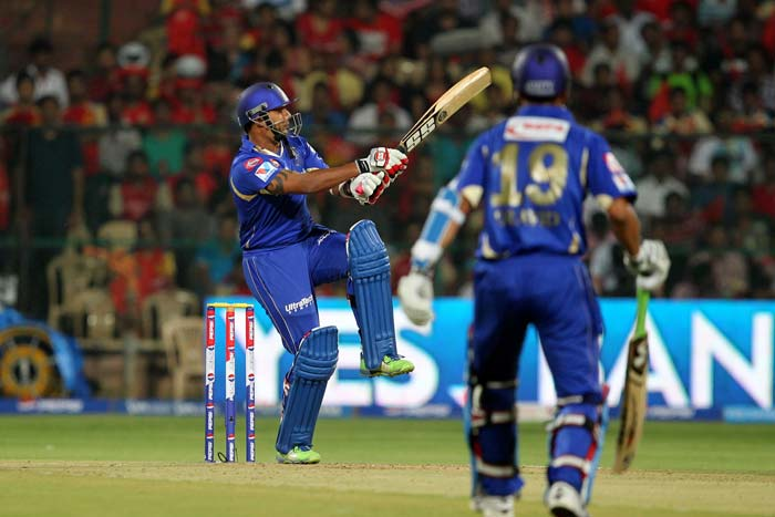 Dravid meanwhile batted steadily and was given company by Stuart Binny, who looked to attack from the outset. The ploy to bat him at No.4 started to pay dividends as the former Indian all-rounder's son hit four blistering boundaries and one huge six to counter-punch for Rajasthan. (BCCI Image)