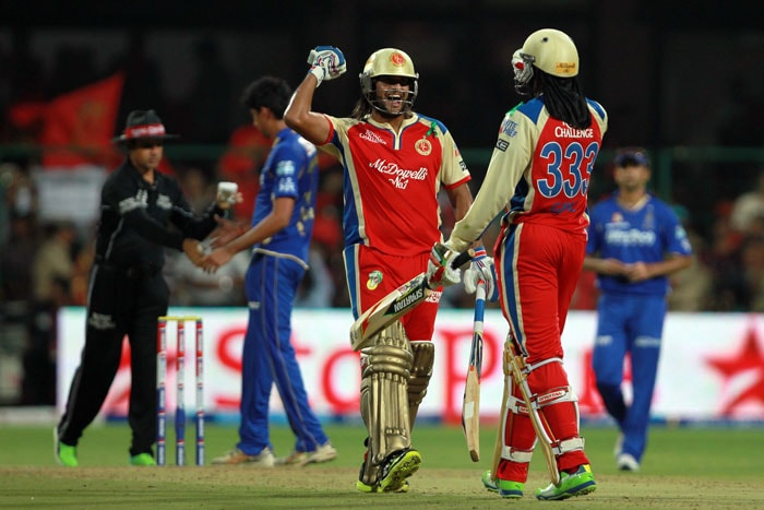 Brilliant bowling spells by RP Singh and Vinay Kumar gave Royal Challengers Bangalore a comfortable 7-wicket victory over Rajasthan Royals in the 27th match of the Indian Premier League 2013, being played in Bengaluru. <br><br> RCB did have a few hiccups losing Tillakratne Dilshan, Virat Kohli and AB De Villiers in quick succession as Shane Watson struck twice and James Faulkner once to give Rajasthan some hope. Saurabh Tiwary and Chris Gayle though gave the home side a comfortable win scoring 25 and 49 respectively. (BCCI Image)